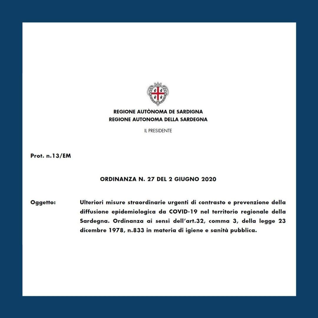 Regione Sardegna Ordinanza n.27 del 02.06.2020 come arrivare in Sardegna
