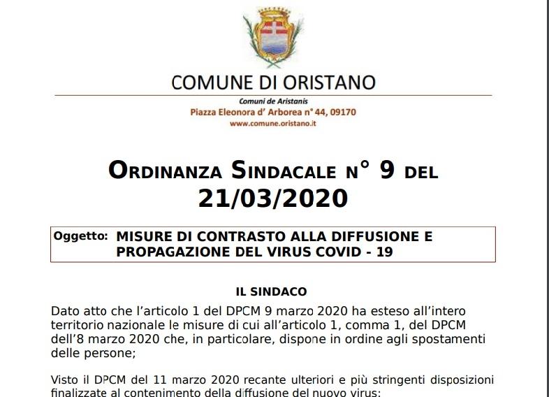 Comune di Oristano - nuova ordinanza sindacale