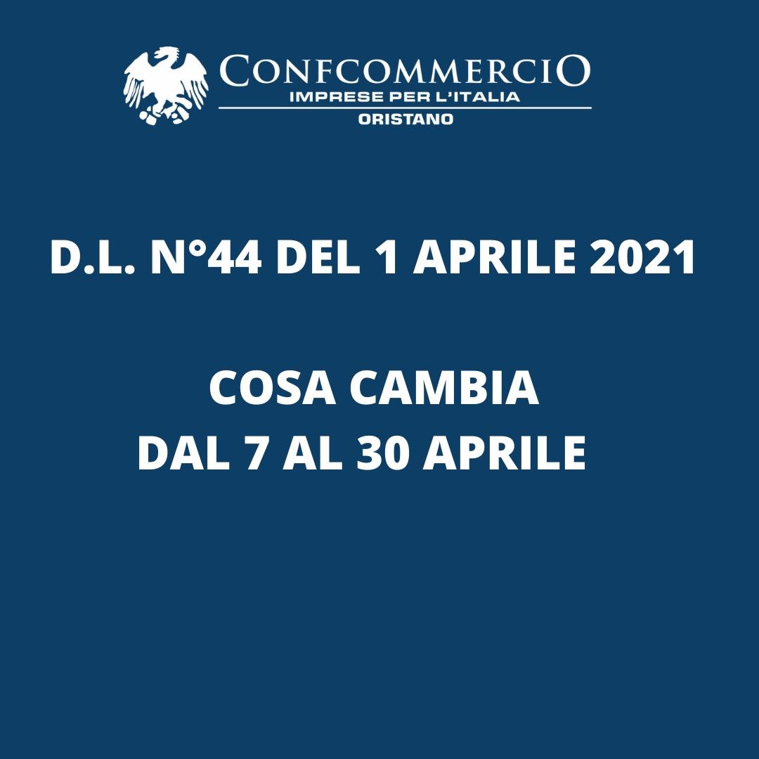 D.L. 44 del 1 Aprile 2021 - cosa cambia dal 7 al 30 aprile