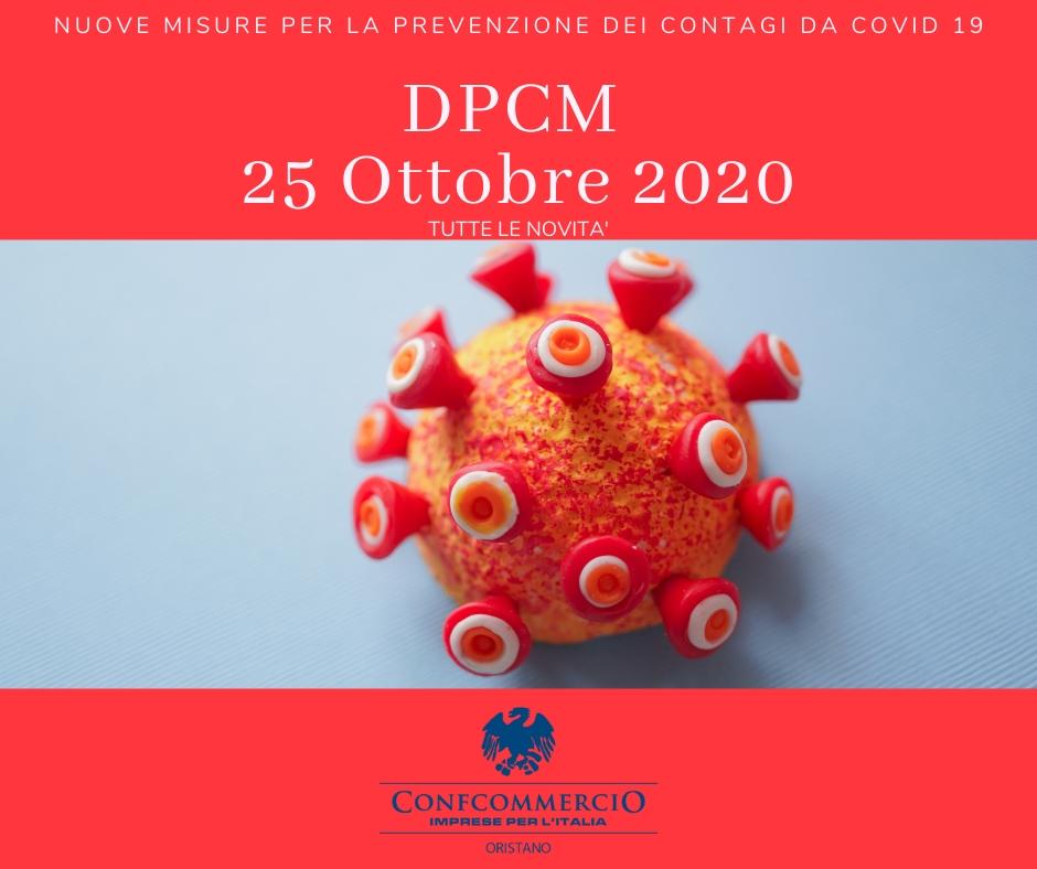 DPCM 25 Ottobre 2020. Nuove regole per la prevenzione del COVID 19