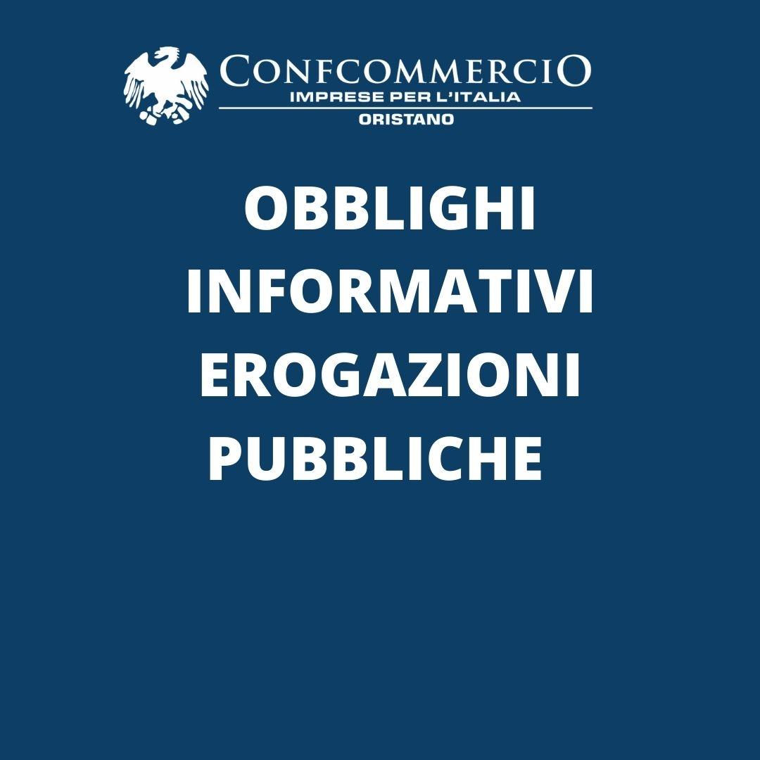 Obblighi informativi erogazioni pubbliche
