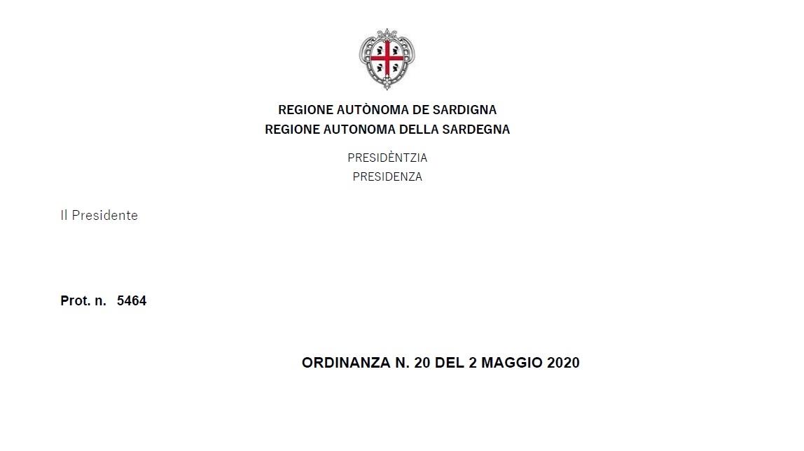 Nuova ordinanza Regione Sardegna