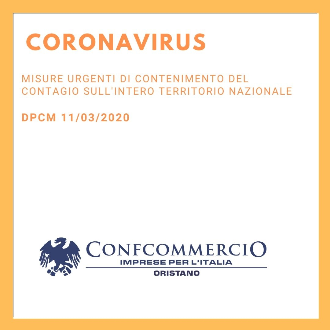 Misure urgenti di contenimento del contagio sull'intero territorio nazionale