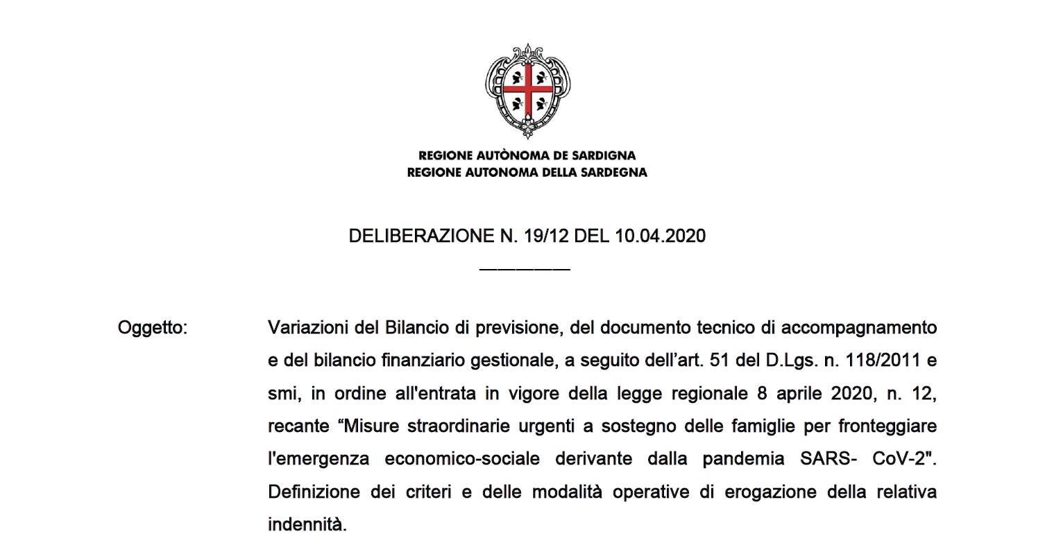 Regione Sardegna risorse a sostegno delle famiglie per fronteggiare l'emergenza economico – sociale