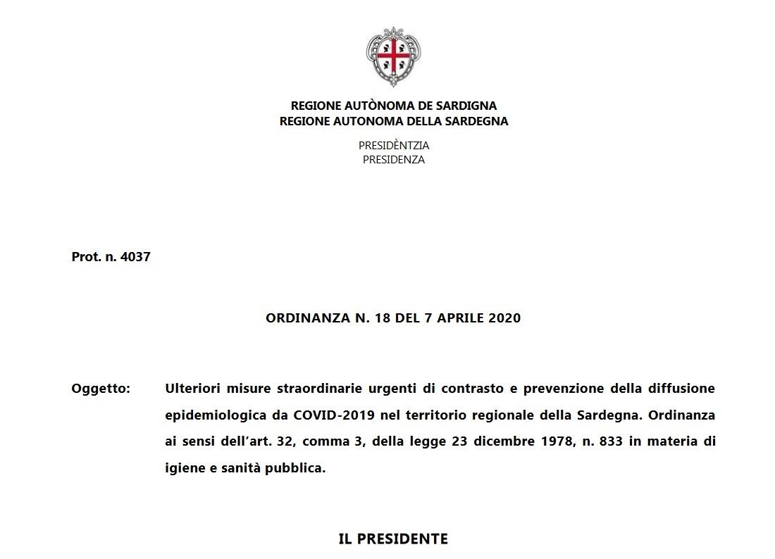Regione Sardegna ORDINANZA N. 18 DEL 7 APRILE 2020