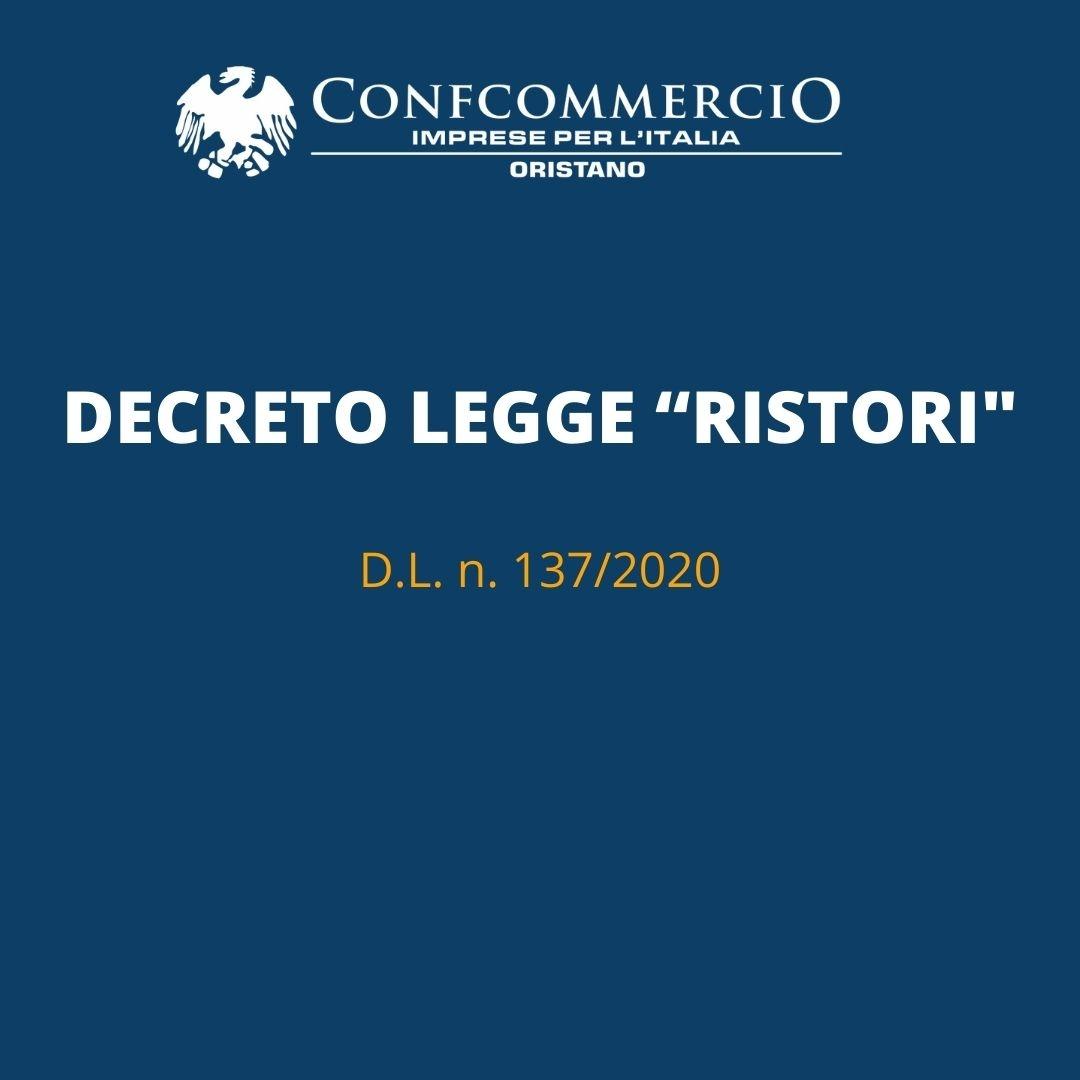 Pubblicazione in Gazzetta Ufficiale - D.L. n. 137/2020 c.d.